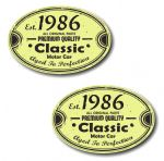 PAIR Distressed Aged Established 1986 Aged To Perfection Oval Design Vinyl Car Sticker 70x45mm Each